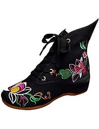 Huicai Zapatos Bordados para Mujeres con Cordones Estampado de Flores Cabeza Redonda Bota Plana de Tubo