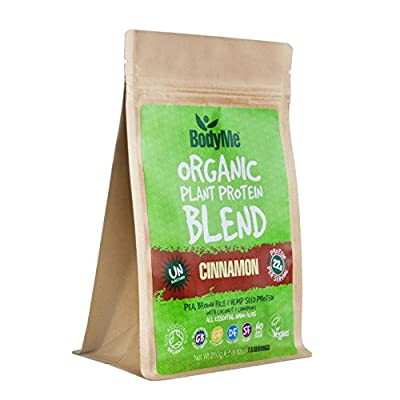 BodyMe Organic Vegan Protein Powder Blend | Raw Cinnamon | 250g | UNSWEETENED with 3 Plant Proteins from BodyMe