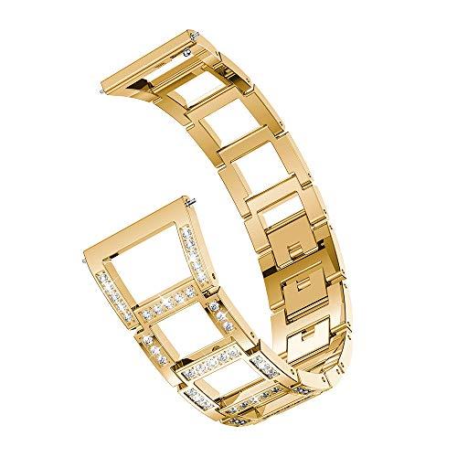 YEARNLY Damen Metall Watch Armband für Samsung Galaxy Watch Ersatz-Metallkristall-Uhrenarmband (46mm)