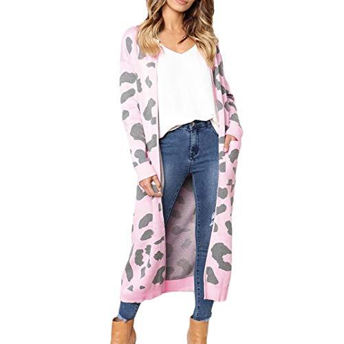 Beikoard Damen Strickjacke Mode Frauen Strickdruck Langarm Strickjacke T-Shirt Tops Pullover Mantel Langärmelige Cardigan mit Leopardenmuster(Rosa,X-Large)