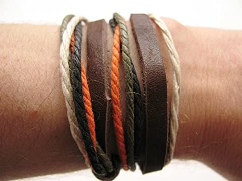 Mens or Womens hemp unisex urban surfer Brown leather coloured cord friendship bracelet