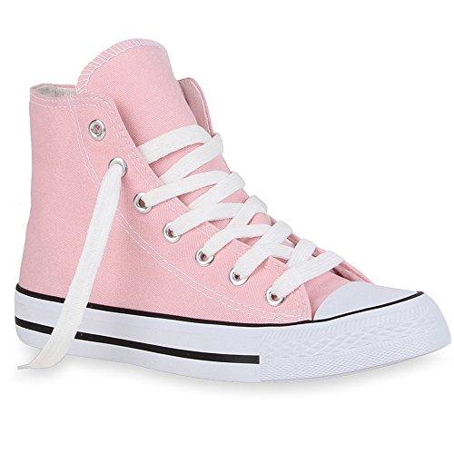 Stiefelparadies Damen Sneakers Muster Camouflage Damen Glitzer Turn Sneaker High Schuhe 40719 Rosa 36 Flandell