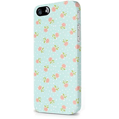 Vintage Floral Flowers Rose Dots Pattern Baby Blue Indie Tumblr Boho Apple iPhone 5 / iPhone 5s / iPhone SE Snap-On Hard Plastic Protective Shell Case Cover