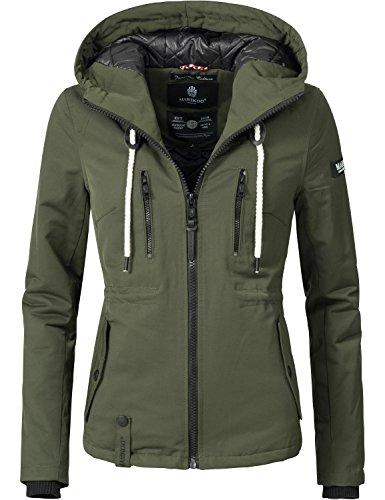 Marikoo Damen Jacke Winterjacke Liebe Mich (vegan hergestellt) Forest Green Gr. XL Womens Gefütterte Regen Jacke