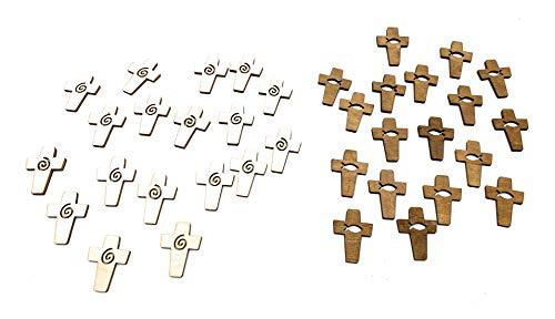 Gilde Christliche Kreuze Deko Streu Holz mit Fisch 2 er Set Tisch Deko Konfirmation Taufe Kommunion