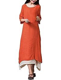 ZANZEA Mujer Vestido Largo Holgado Elegante Escote Redondo