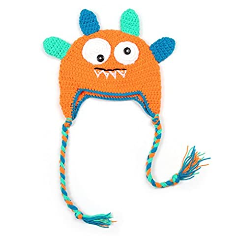 Vogholic Toddler Knit Winter Earflap Hat Monster Earmuff Skull Cap Beanie Orange (Earflap Knit Cap)