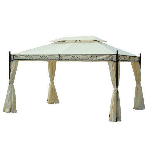 Outsunny Carpa 3x4m Pabellon Cenador de Jardin Blanca con Cortinas