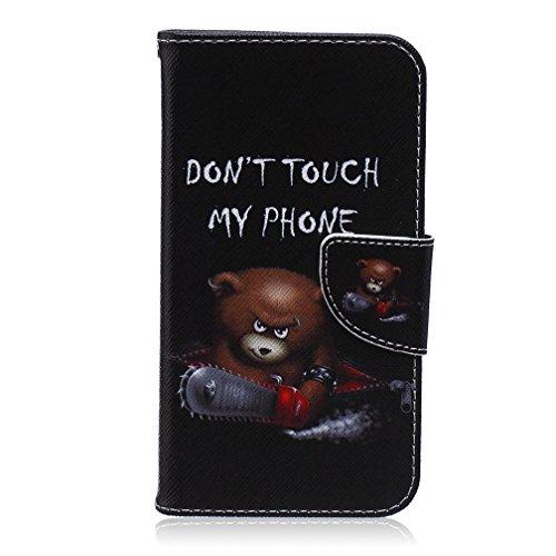 KATUMO® Schutzhülle für Samsung Galaxy S5 Neo/S5 I9600 Tasche Handy Hülle [Wallet Case] [Flip Cover] Premium Leder Bookstyle Etui Schale Handyhülle mit Standfunktion und Kredit Kartenfächer,Teddybär S5 Teddybär