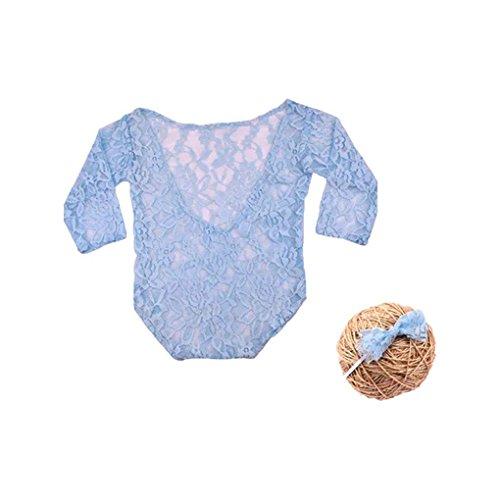 (Baby Langarm Strampler Neugeborenen Fotografie Requisiten Prinzessin Spitze Kostüm mit Stirnband Bogen Knoten Infant Outfits)