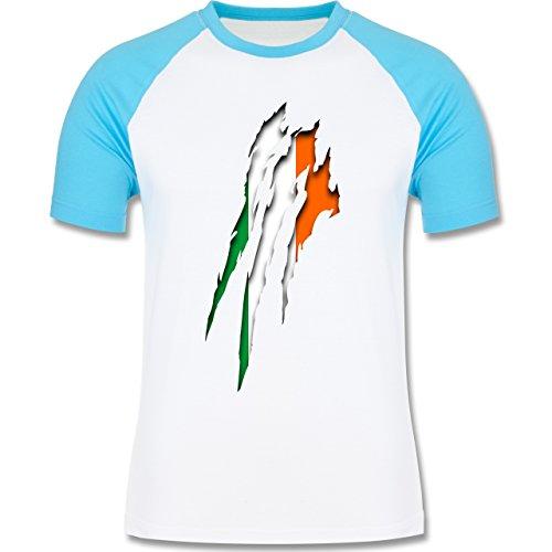 Länder - Irland Krallenspuren - zweifarbiges Baseballshirt für Männer Weiß/Türkis
