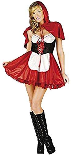 Mix lot Kleine Rotkäppchen-Outfit cosisting von einem Kleid mit einem Bauernmädchen Stil vor mit einer kleinen Schürze und passenden roten Kapuzenumhang Größen 36-38 / 40-42 / 44/46 (Medium, Red)