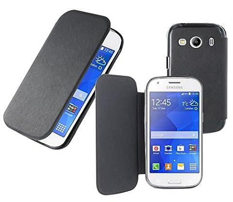Housse Samsung Galaxy Ace 4 - Etui portefeuille noir extra fin dédié au Samsung Galaxy Ace 4 + protection intérieure en suédine + coque intégrée . Prix spécial Nouveauté. Marque : Everglade.