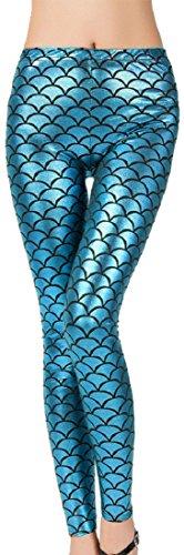 Verrückte Mädchen Damen Sexy Meerjungfrau Fisch Skala Hologramm Stretch Soft Shine Leggings EU36, EU38, EU40, EU42 (S/M - EU36/38, - Hologramm Kostüm