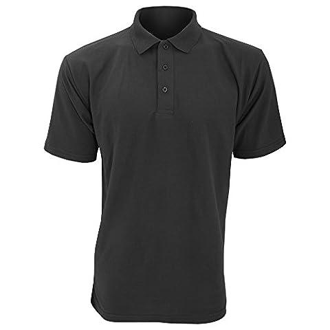 UCC 50/50 Mens Plain Piqué Short Sleeve Polo Shirt (L) (Black)