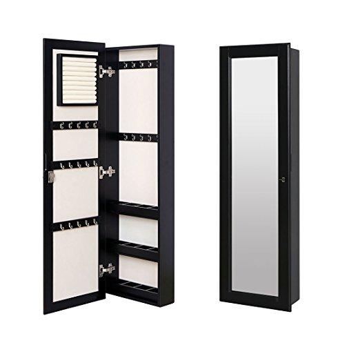 HLC Klassische Wandmontage Schmuckschrank Schminkschrank Schmuck Spiegelschrank Schmuckkasten mit Wandspiegel aus Holz - 4