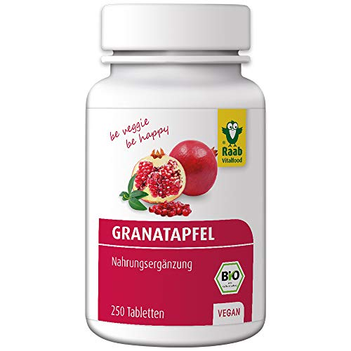 Raab Vitalfood Bio Granatapfel-Tabletten mit Polyphenolen, 250 Stück, vegan, glutenfrei, hergestellt & laborgeprüft in Deutschland, Vorratspackung