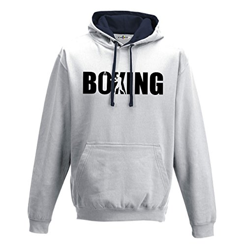 Sudadera capucha Bi Boxeo Boxing Rocky Ring Saco Sport combate 1 Hombre, Arctic White-French Navy