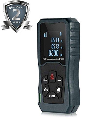 Laser Entfernungsmesser 40m Lasermessgerät mit Integriertem Digital Wasserwaage und LCD Hintergrundbeleuchtung Messgenauigkeit ±2mm