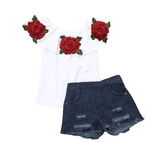 LIGESAY Kleinkind Kinder Baby Mädchen Kleidung Set Outfits Blume Rose Tops + Denim Shorts Hosen Set Kleinkind Outfit Schulterfrei Kurzärmeligen Ruffle Newborn Punkte