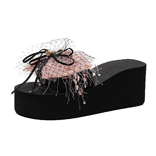 Amoyl Damen Wedge Hausschuhe Bowknot Perle Folien Nach Hause Bad Strand Flip Flops Sommer Meer Hausschuhe Badeschuhe (37 EU, Rosa) -