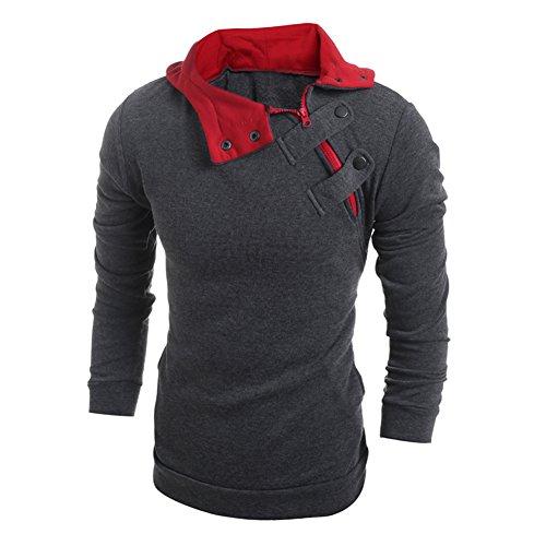 West See Herren beiläufige Langarm Kapuzenmantel Jacke Outwear Hoodies Sweatjacke (EU M(Herstellergrößer L), Dunkelgrau)