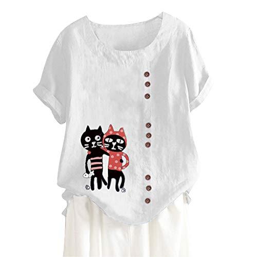 MOTOCO Damen Übergröße Kurzarm T-Shirt Top Lässig O Ausschnitt Mit Knopf Mode Tier Druck Lose Tees(L,Weiß-3) -