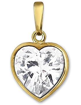 CLEVER SCHMUCK Goldener Anhänger kleines Herz 8 mm mit herzfömigen Zirkoniastein weiß 333 GOLD 8 KARAT im Etui