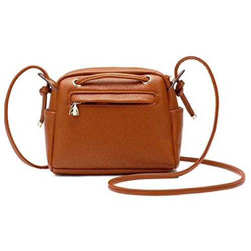 WU Zhi Borsa Della Borsa Della Borsa Della Spalla Del Sacchetto Di Spalla Della Signora Mini Messenger Bag Packet Drawstring Brown