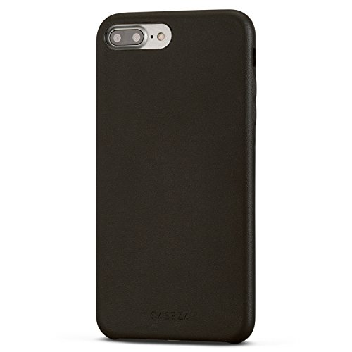 Funda iPhone 8 Plus / Funda iPhone 7 Plus Negra - CASEZA 'Rome' Piel PU Case Negro Cover Carcasa Tapa Trasera Piel Vegana Premium para Apple iPhone 8 Plus & 7 Plus (5.5') Ultrafina Protección Completa