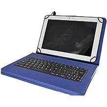 """Theoutlettablet® Funda con teclado extraíble en español (incluye letra Ñ) para Tablet Bq Aquaris M10 / Bq Edison 3 / Woxter QX105-103 / Samsung Galaxy Tab A 9.7"""" / etc etc Color Azul"""