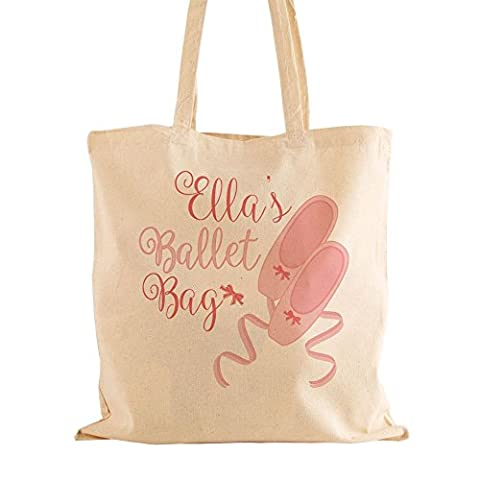 Personalised Natural Cotton Ballet Bag with Handles, Girl's Dancing Gift