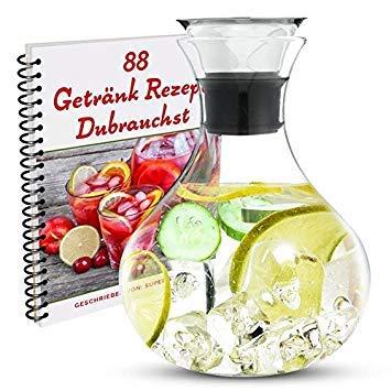 Borosilikat Glaskaraffe, 1.5L, mit Edelstahldeckel - inkl. E-Book mit 88 tollen Getränkerezepten. Karaffe, Wasser Karaffe, Wasserkrug, Wasserkanne,glaskanne, auch perfekt als Geschenk geeignet