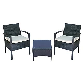 41NuMtC6HBL. SS324  - Outsunny Set Mobili da Giardino 3pz Set 2 Sedie e Tavolino con Cuscini Poly Rattan