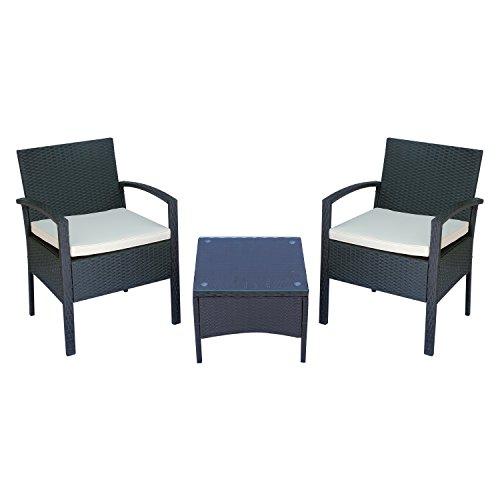 Outsunny Set Mobili da Giardino 3pz Set 2 Sedie e Tavolino con Cuscini Poly Rattan