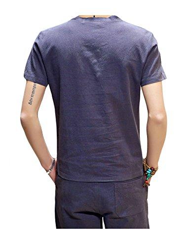 Legou Herren Casual T-Shirt+Kurz Hose Cotton Linen Tee T-Shirts Kurzarm Shirt Shorts Summer Sets Himmel Blau