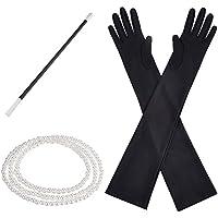 Accesorios de Disfraz de los Años 1920 Juego de Soporte de Plástico Perlas Guantes Largos Negros
