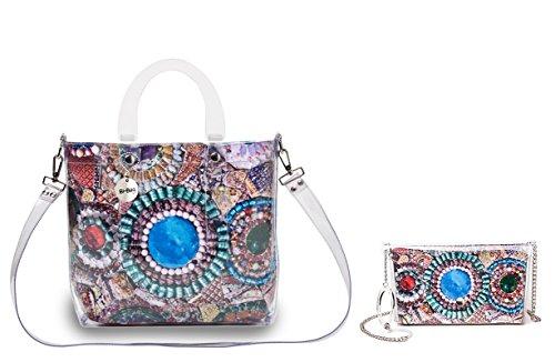 """BI-BAG borsa donna modello DAILY """"SUMMER COLLECTION"""" + pochette Multicolore Con Pietre"""
