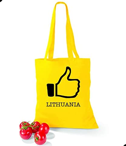 Artdiktat Baumwolltasche I like Lithuania yellow