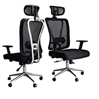 Multi Home Furniture MH-874H Ergonomic Computer Desk Chair for Office and Gaming with headrest, back comfort and lumbar support – Black