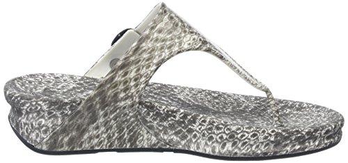 FitFlop Damen Superjelly (Snake) Offene Sandalen mit Keilabsatz Mehrfarbig (Black / White)