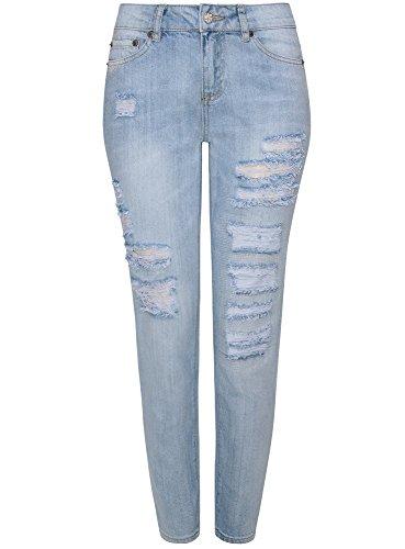 Oodji ultra donna jeans boyfriend invecchiati, blu, 27w / 32l (it 42 / eu 38 / s)