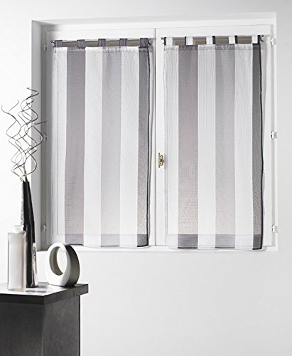 Douceur d'Intérieur Voile Bayadère Riviera Paire Droite Polyester Blanc/Gris 60 x 90 cm