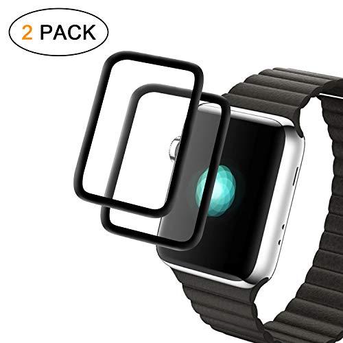 Apple Watch 38mm Schutzfolie, [ 2 Stück ] Alfort Bildschirmschutzfolie für Apple Watch Serie 3/2 / 1 Ultra-Thin Full Cover 9H Härte 3D Panzerglas für iWatch (Schwarz)