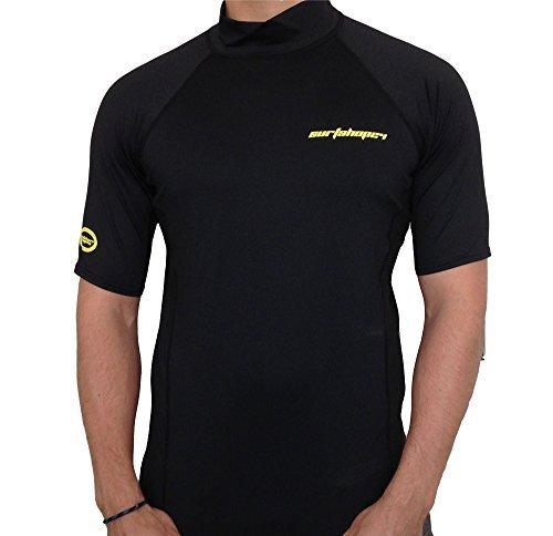 surfshop24 UV-Schutz Shirt Rashguard Spandex Kurzarm schwarz UPF 50+ Sonnenschutz (XXL) - Werbe-herren-bekleidung