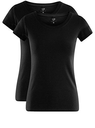 oodji Ultra Damen T-Shirt Basic Aus Baumwolle (2er-Pack) Schwarz (2900N)