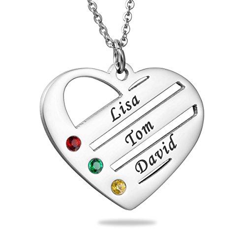 HooAMI Personalisierte Familienmitgliedernkette - Halskette mit Steinen - Geburtssteinkette - mit Gravur 2 Namen (3 Namen Silber)