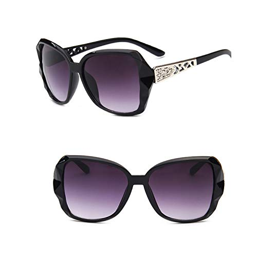 Sportbrillen, Angeln Golfbrille,NEW Vintage Big Frame Sunglasses Women Brand Designer Gradient Lens Driving Sun Glasses UV400 Oculos De Sol Feminino Bright black