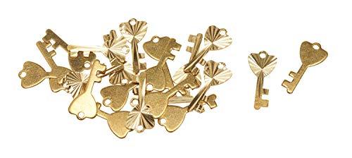VBS Schmuck-Anhänger Schlüssel Gold 20 Stück mit Öse Ketten Scrapbooking Brads - Gold Scrapbooking Brads