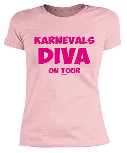 Sexy Girlie Shirt mit Faschingsmotiv: Karnevals Diva on Tour - Das etwas andere Kostüm - Karneval - Figurbetontes Damen Shirt - rosa